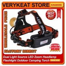 Dual Light Source LED Zoom Headlamp Flashlight Outdoor Camping Torch