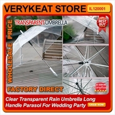 Clear Transparent Rain Umbrella Long Handle Parasol For Wedding Party