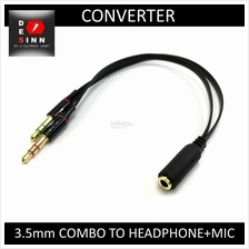 3.5mm Audio Combo (Female)  to Headphone + Mic (Male) Splitter
