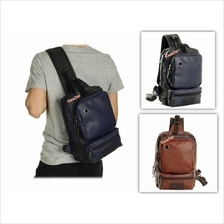 Men High Quality PU Leather Big Capacity Sling Shoulder Bag Backpack