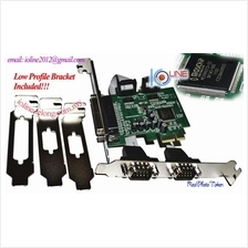 Low profile 1x parallel DB25+2x Serial DB9 RS232 card PCIe Moschip