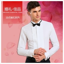 Men Smart Wedding Wing Collar White Long Sleeve Formal Working Shirt
