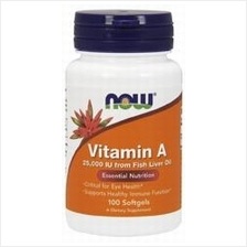 Now SPort Vitamin A 25000IU 100Caps (Skin Problem, Improve Vision)
