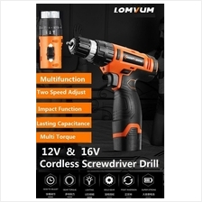 LOMVUM 12V & 16V Cordless Screwdriver Drill Rechargeable Hand Drill