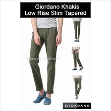 GIORDANO Khakis Straight Cut Low Rise Slim Tapered Pant Army Green