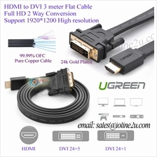 3m UGREEN HDMI to DVI 24+1/24+5 Flat Cable 24K Gold plated Premium Quality Ful