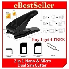 2in1 Nano & Micro Dual Double Phone Card Sim Cutter 3 Adapters