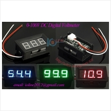 Green 0~100V DC digital voltmeter 3 wire panel mount voltage monitor 0.56