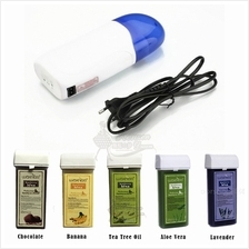 Roll On Depilatory Wax Heating Machine + 5 Flavours Hair Remover Wax