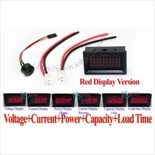 RED 4~30V DC Voltmeter+5A ammeter+Capacity Tester High/Low Voltage Alarm 12V B