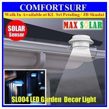 Outdoor Solar Powered 3 LED Wall Path Landscape Garden Fence Light