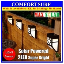 Auto ON Solar Powered Light 2 LED Outdoor Wall Street Oriental Lamp