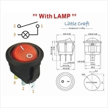 Round Shape ON / OFF Power Switch With Red Lamp AC 250V 6A