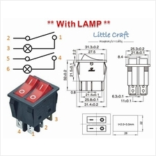 Dual ON/OFF Power Switch With Red Lamp AC 250V 6A