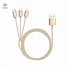 Mcdodo M-Woven 3in1 Lightning + Micro USB + Type C Cable 1.2M - Gold