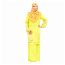 Cotton  & Silk - Baju Kurung Moden - Cotton Embroidery - 1184 - D5 (Yellow.))