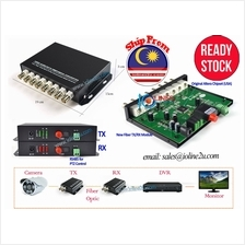 8 channel BNC CCTV video fiber optic converter Single mode PTZ RS485 a
