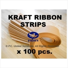 x100pcs LONG BROWN KRAFT PAPER RIBBON STRIP for Arts Craft String