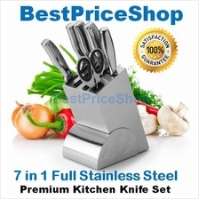 7 in 1 Full Stainless Steel Premium Kitchen Knife Knives Set with Bloc