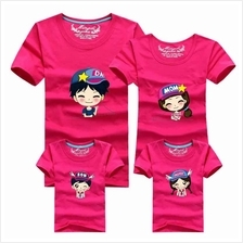 Family T Shirt Set Man Dad + Woman Mom (Star Cap Couple / Kids Boy)