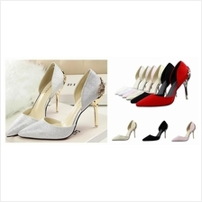 Women 10cm High Heels Shoe Wedding Dinner Bride White Silver Red