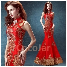 Chinese Traditional Wedding Dinner Long Evening Dress Gown Cheongsam