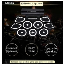 KONIX MD760 Electronic 9 Pad Roll Up Folding Drum MIDI DTX Game