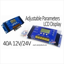 LBI 40A 12V 24V LCD PWM Solar Charge Controller Charger Volt/Amp Display Auto