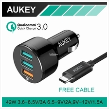 [Qualcomm Certifed] Aukey CC-T11 Quick Charge 3.0 3 Port Car Charger