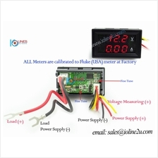 0~50V DC Dual voltage Current meter Voltmeter 2A ammeter Red/Red Display color