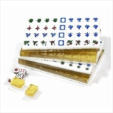 Colorful Crystal Gold Mini Mahjong Set Travel Chinese New Year