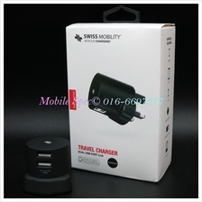 Swiss Mobility 2 Dual USB Fast Charger 5V/2.4A iPhone Android Tablet