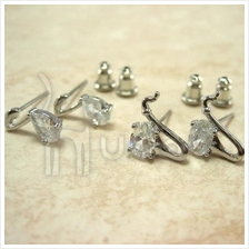 Music Rhineston Silver Plated Musical Earrings