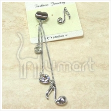 Love Music Notes Diamond Silver Earrings