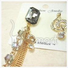 Music Notes Diamond Gem Gold-Plated Earrings
