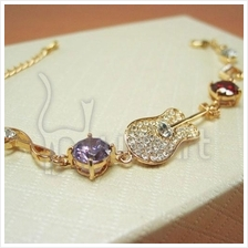 Music Fashion Alloy Guitar Diamond Gemstone Bracelets