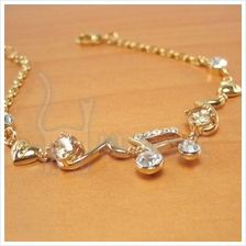 True Love Music Note Alloy Diamond Bracelet