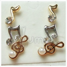 Music Notes Alloy three-piece Diamond Pearl Earrings