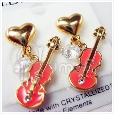 Music Love and Violin Crystallized Earrings Variety Color