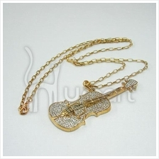 Music Bling-Bling Metallic Violin Sweater Long Necklace