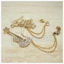 Elegant Bling-bling Guitar / Music Notes double stranded Brooch
