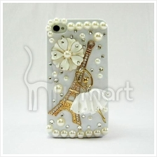 Eiffel Tower Ballet girl handmade AA rhinestone Apple IPHONE 4/4S Case