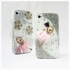 Ballet girl handmade AA rhinestone Apple IPHONE 4/4S Case