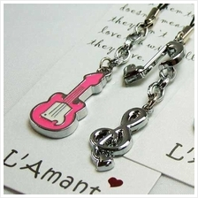 Music Guitar and Treble Clef Couple Handphone Strap (2 per set)