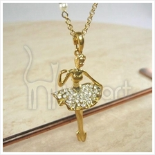 Music Elegant Ballet Girl Rhineston Gold-Plated Pendant Necklace
