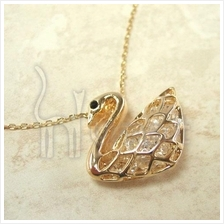The Noble Swan Crystal Gold-Plated Pendant Necklace