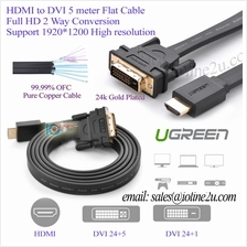 5m UGREEN HDMI to DVI 24 1/24 5 Flat Cable 24K Gold plated Premium Quality Ful
