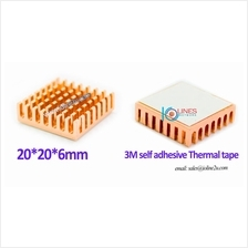 2Pcs 20mm*20*6mm alluminium heatsink w/ adhesive film heat sink IC RAM Chip Po