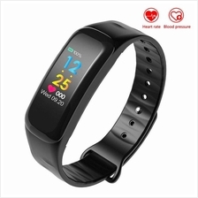 C18 Blood Pressure Heart Rate Monitor Color Display Smart Band Support