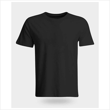 100% Cotton Black plain T-shirt XS to 5XL)